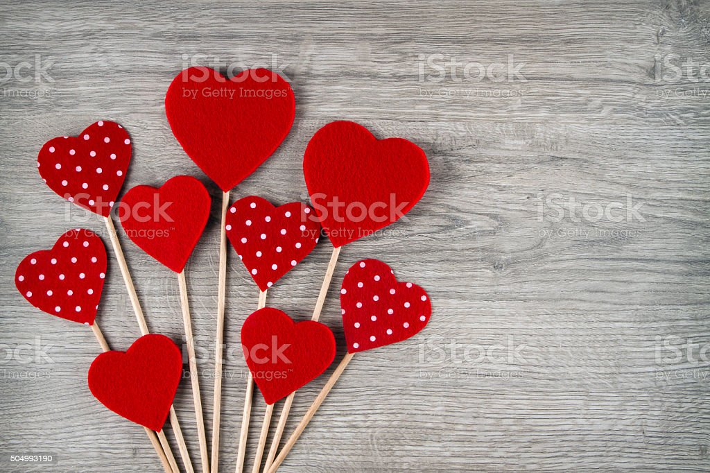 Red Hearts on Wooden Background stock photo