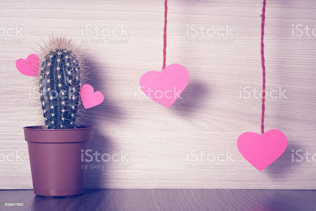 Red hearts with a cactus stock photo