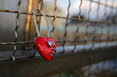 red heart-shaped love padlock