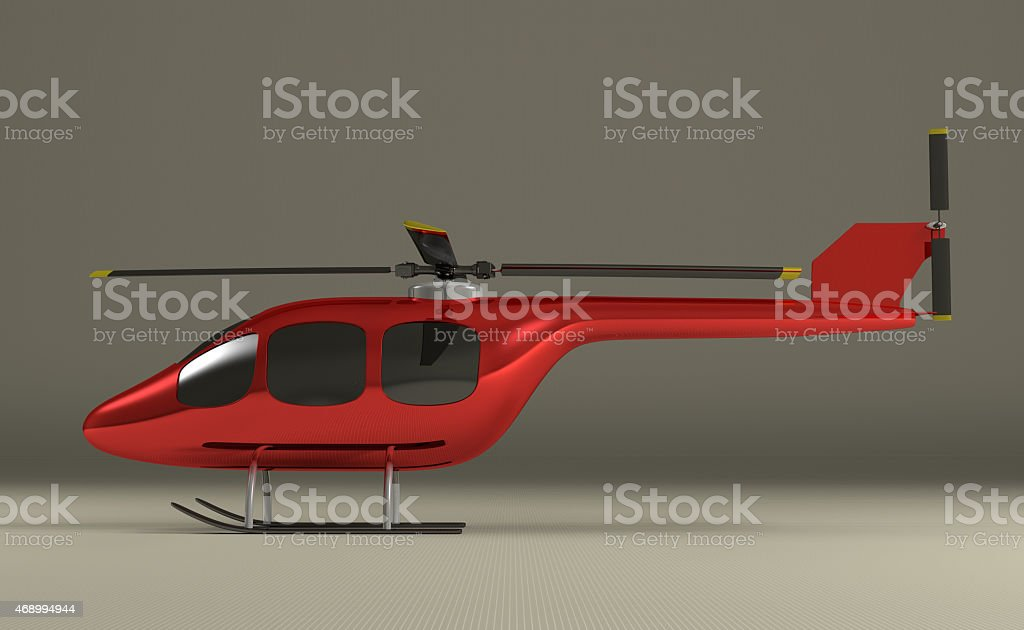 Red helicopter on gray stock photo