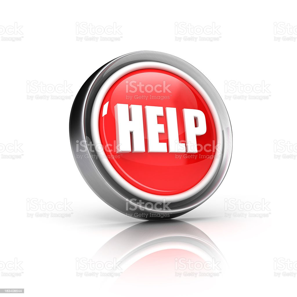 Red help icon with white letters on a white background stock photo
