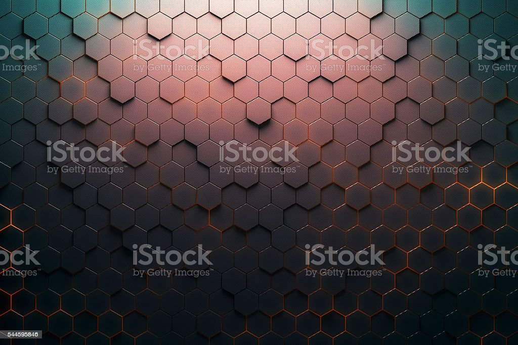 Red hexagon pattern stock photo