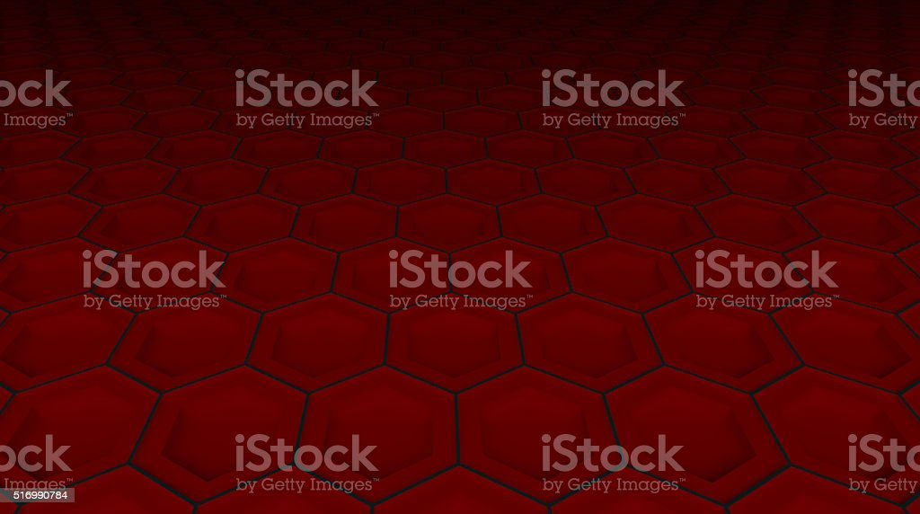 red hexagonal technological perspective background stock photo