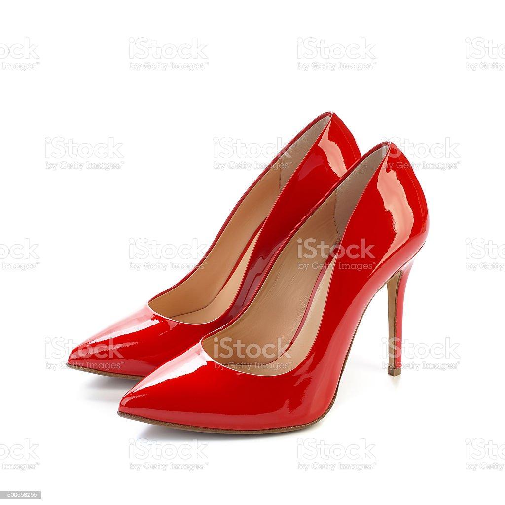 Red high heel women classic shoes stock photo