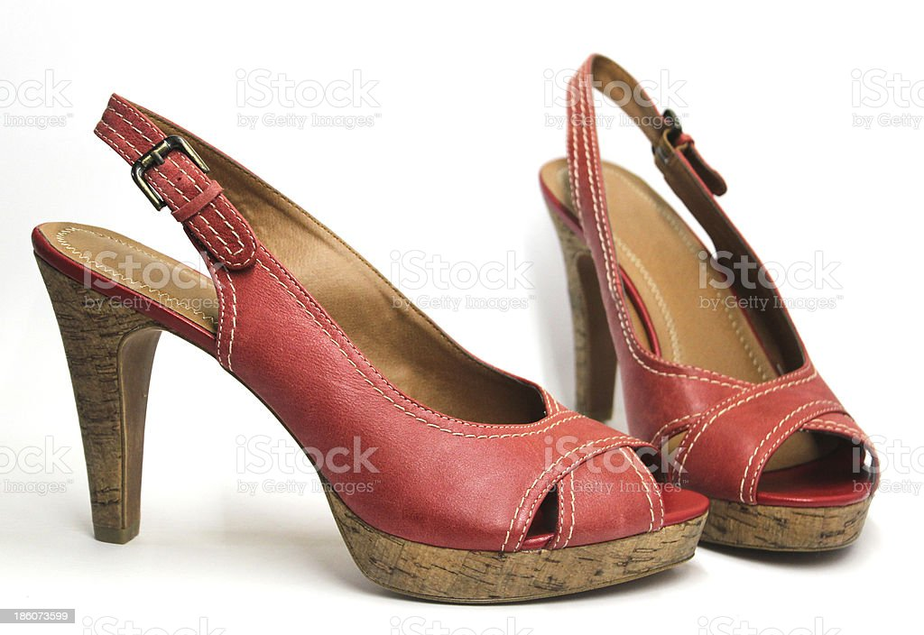 Red high heeled woman shoes stock photo