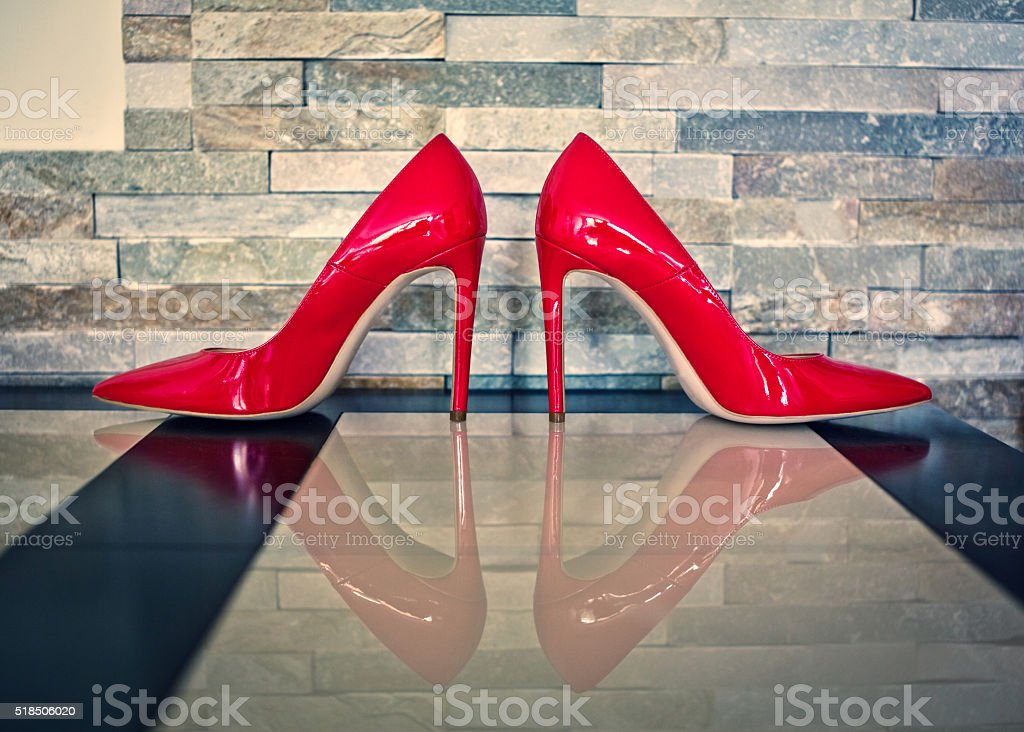 Red high heels shoes stock photo