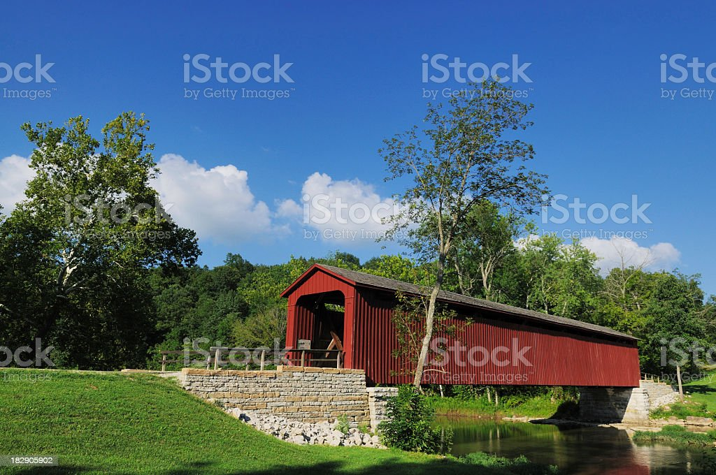 Red historic bridge at Cataract Falls State Park stock photo