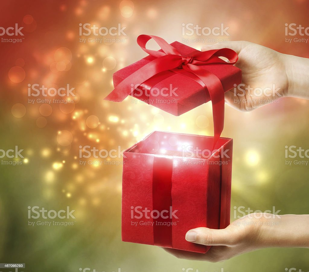 Red Holiday Gift Box royalty-free stock photo