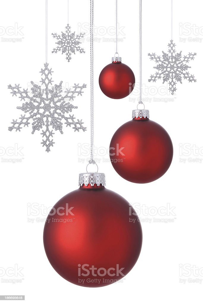 Red Holiday Ornaments royalty-free stock photo