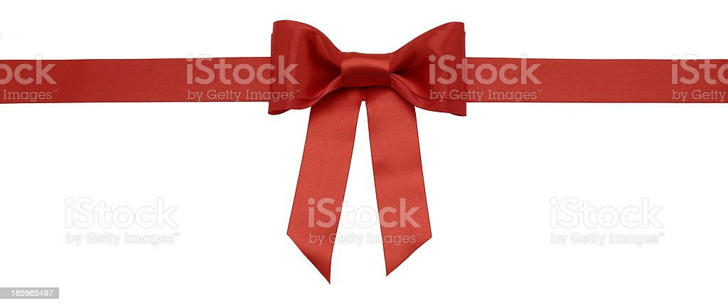 Red holiday ribbon on a white background stock photo