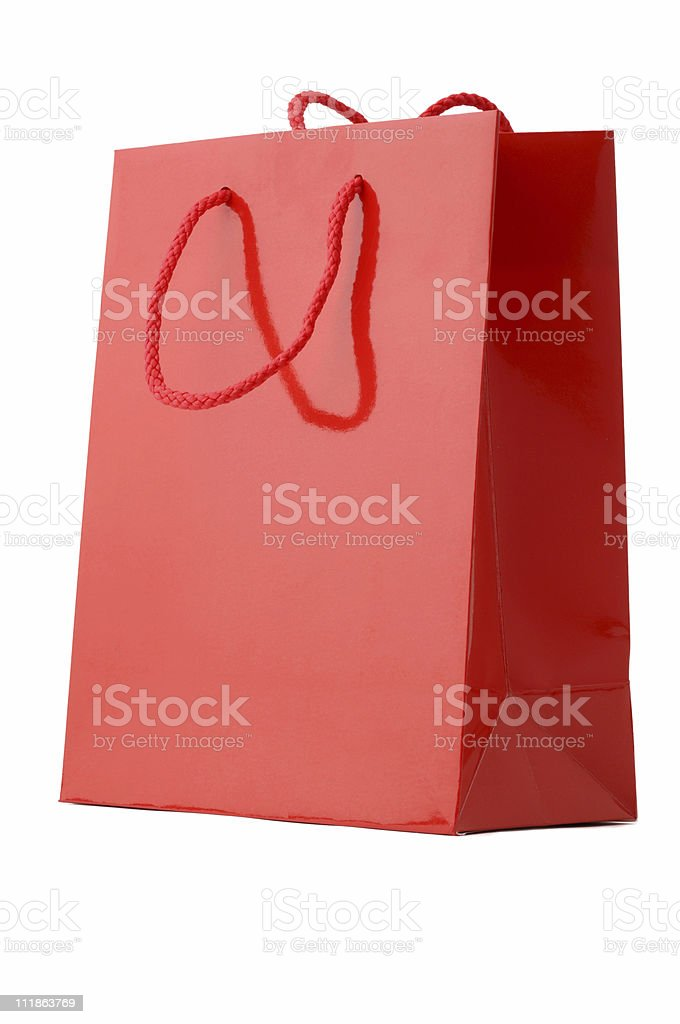 Red Holiday Shopping Bag Isolated on White Background stock photo