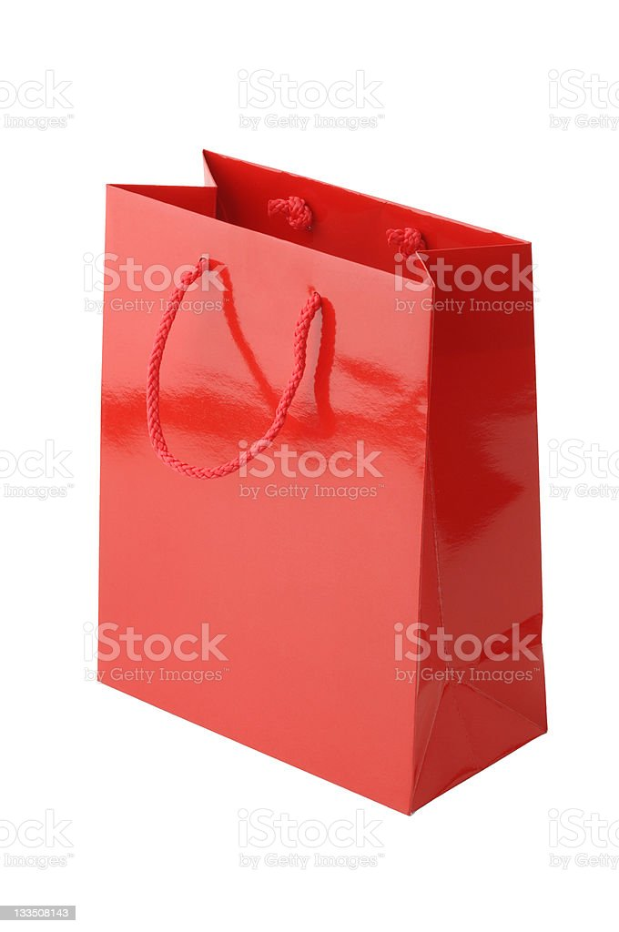 Red Holiday Shopping Bag stock photo