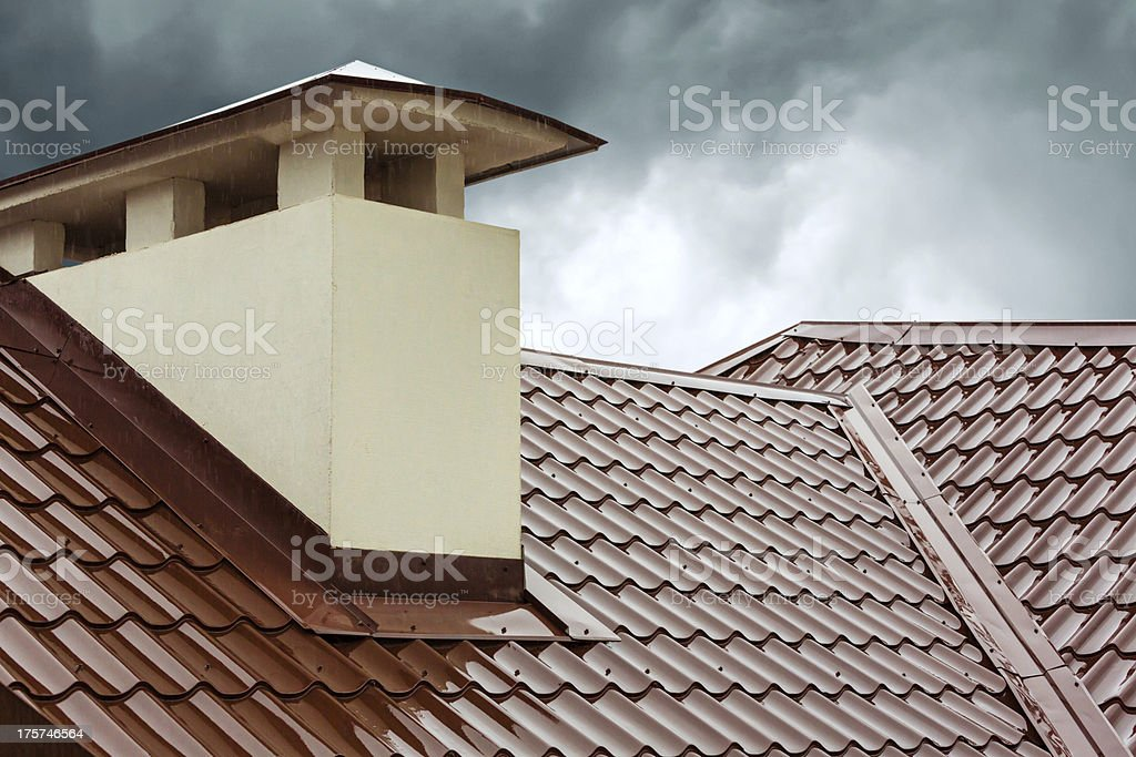 Red home roof stock photo