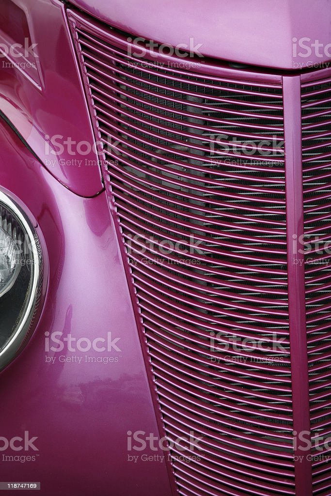 Red Hot Antique Automobile Grill stock photo