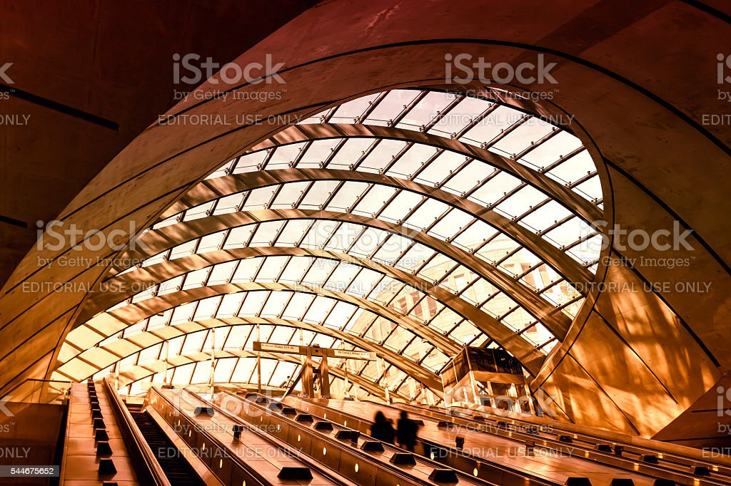 Red hot Canary Wharf underground station in London stock photo