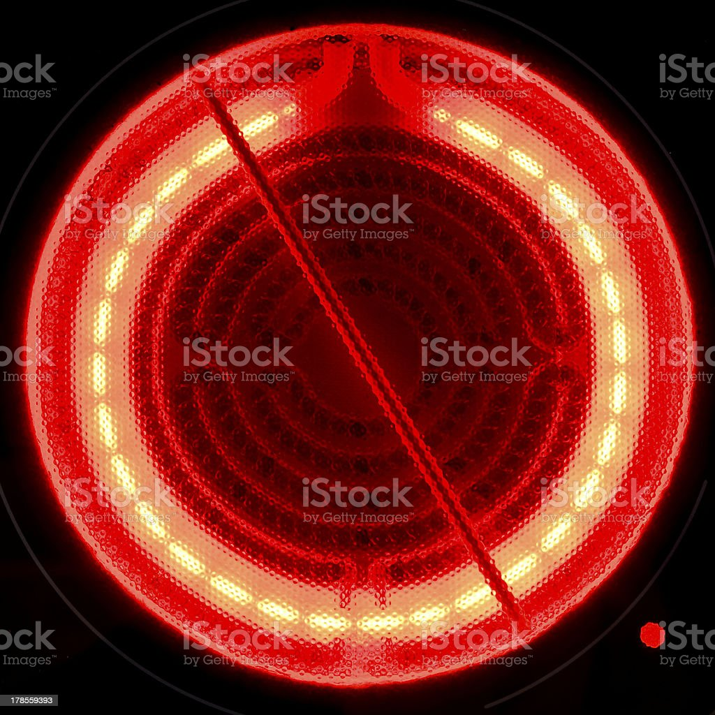 Red hot ceramic surface of electric cooker stock photo