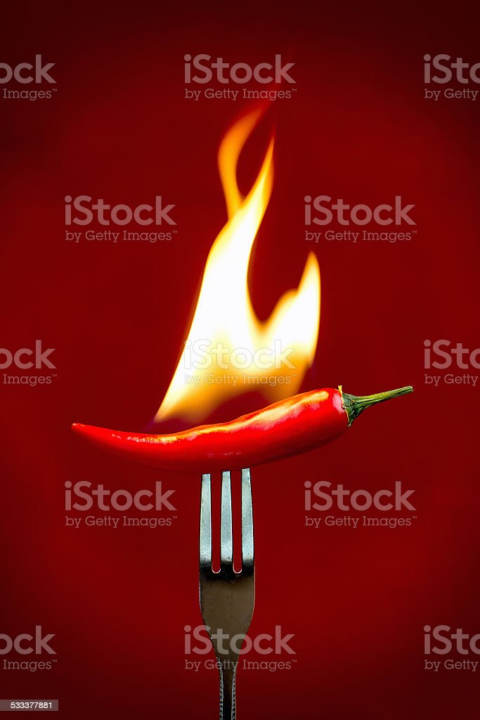 Red hot chili peper burning. stock photo