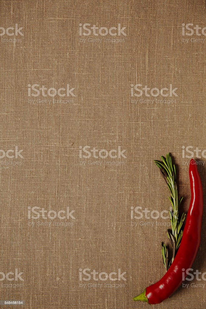 red hot chili pepper on the linen cloth stock photo