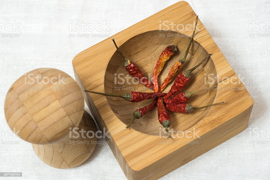 red hot chili pepper on wood background stock photo