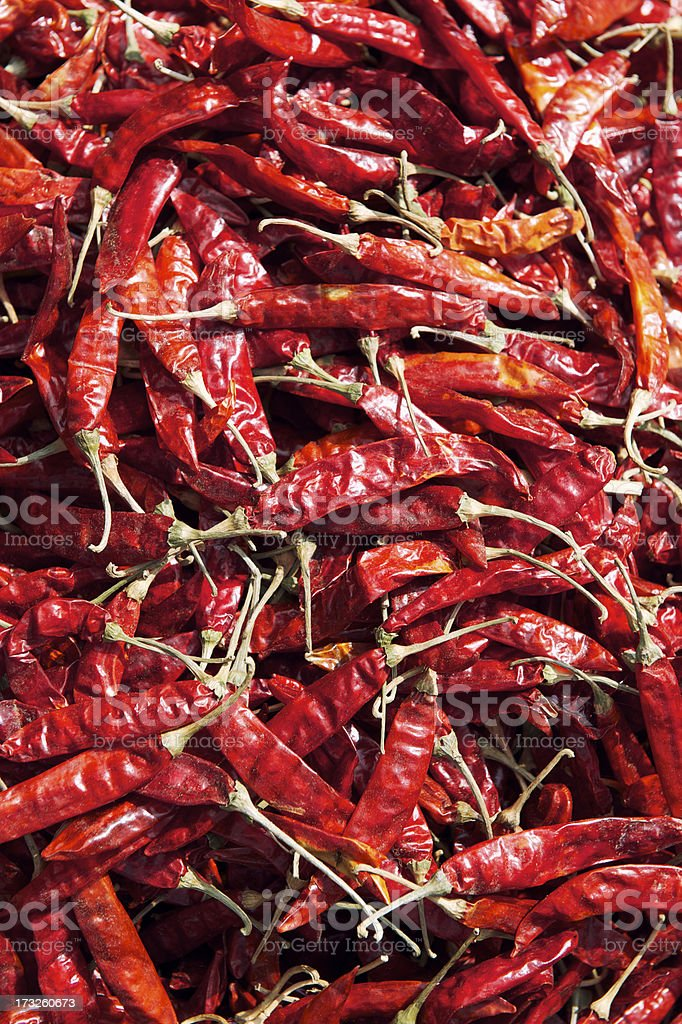 Red Hot Chili Peppers Drying in Sun Full Frame royalty-free stock photo