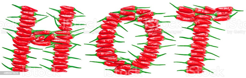Red Hot Chili Peppers Lettering HOT stock photo