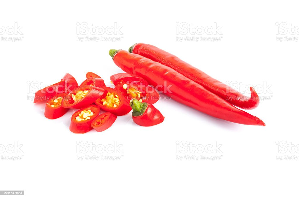Red hot chili peppers on white background. stock photo