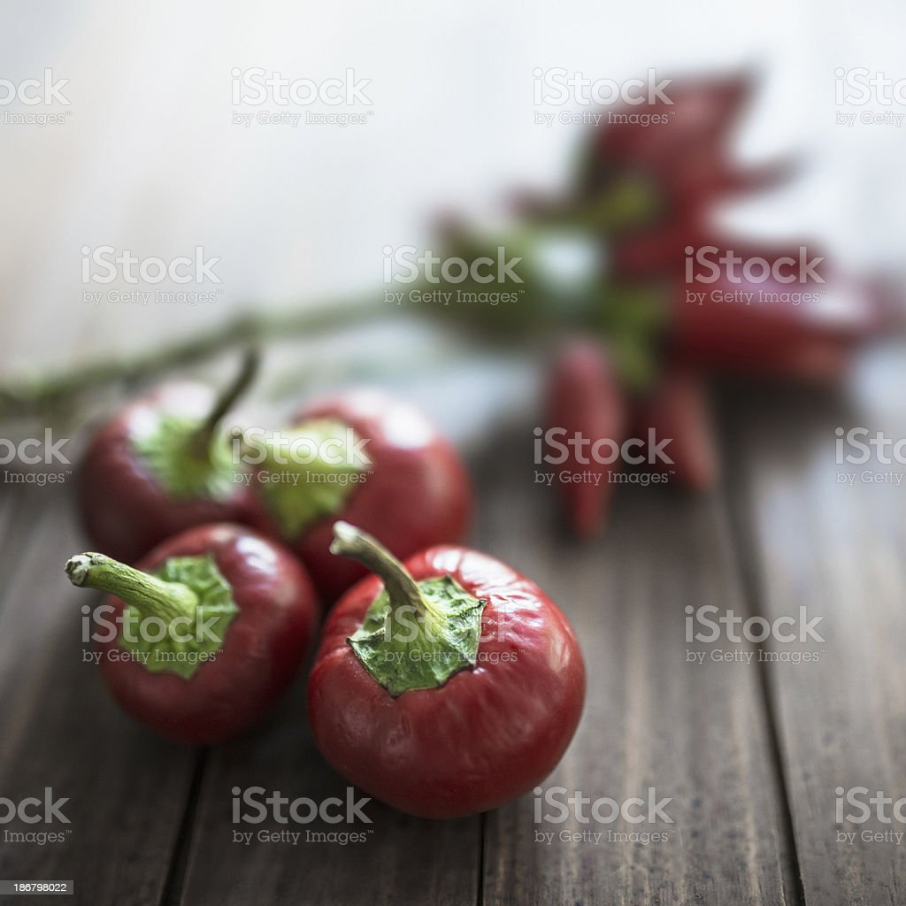 red hot chili peppers on wood plank stock photo