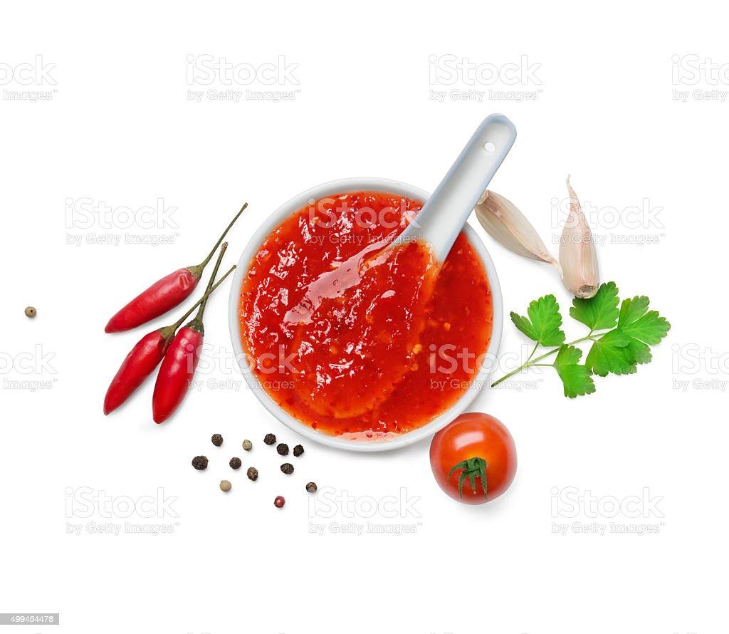 red hot chilli sauce stock photo