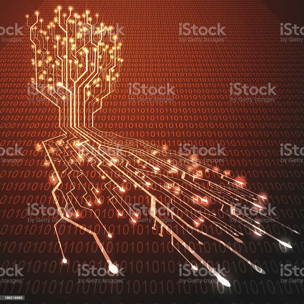 Red hot circuit board in Tree shape royalty-free stock photo