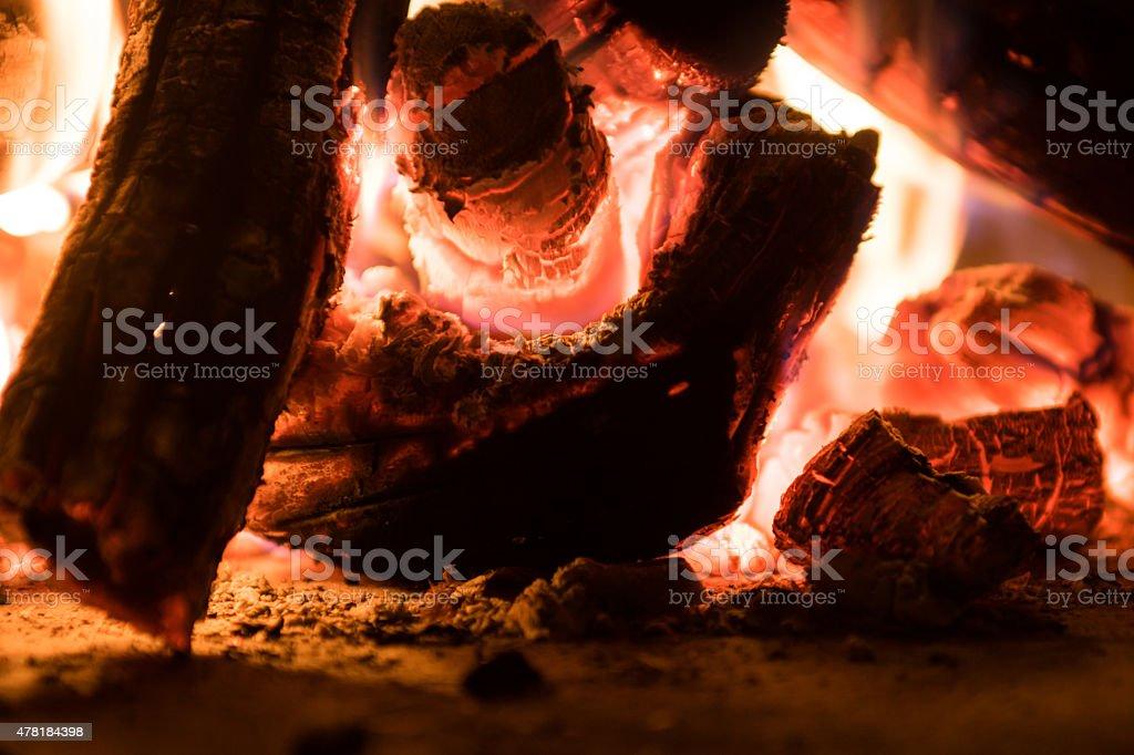 Red hot coals stock photo