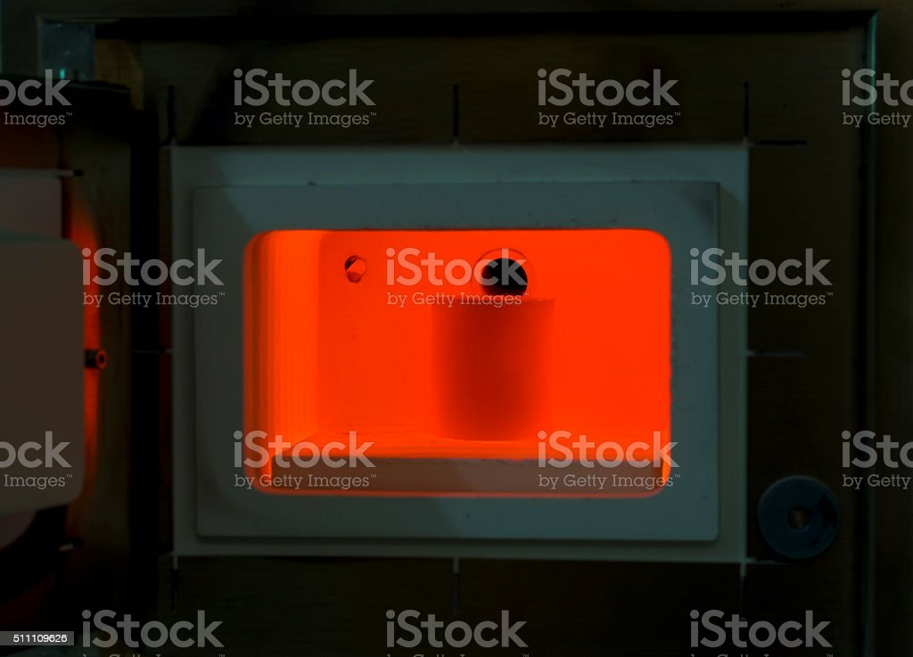 Red hot furnace for all kinds of casting molds. stock photo