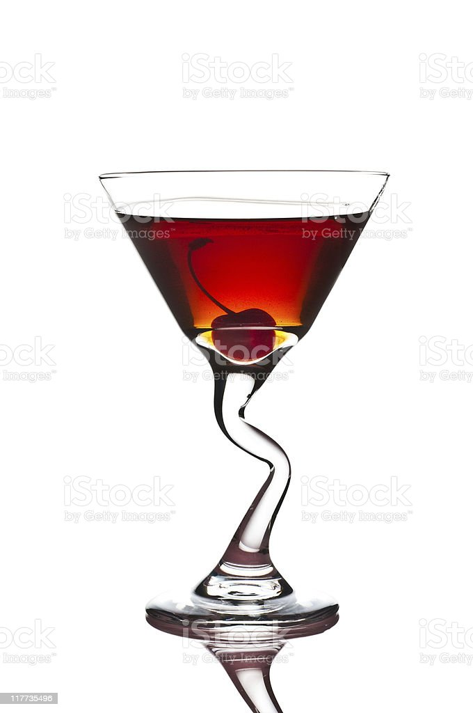 Red Hot Manhattan Cocktail royalty-free stock photo