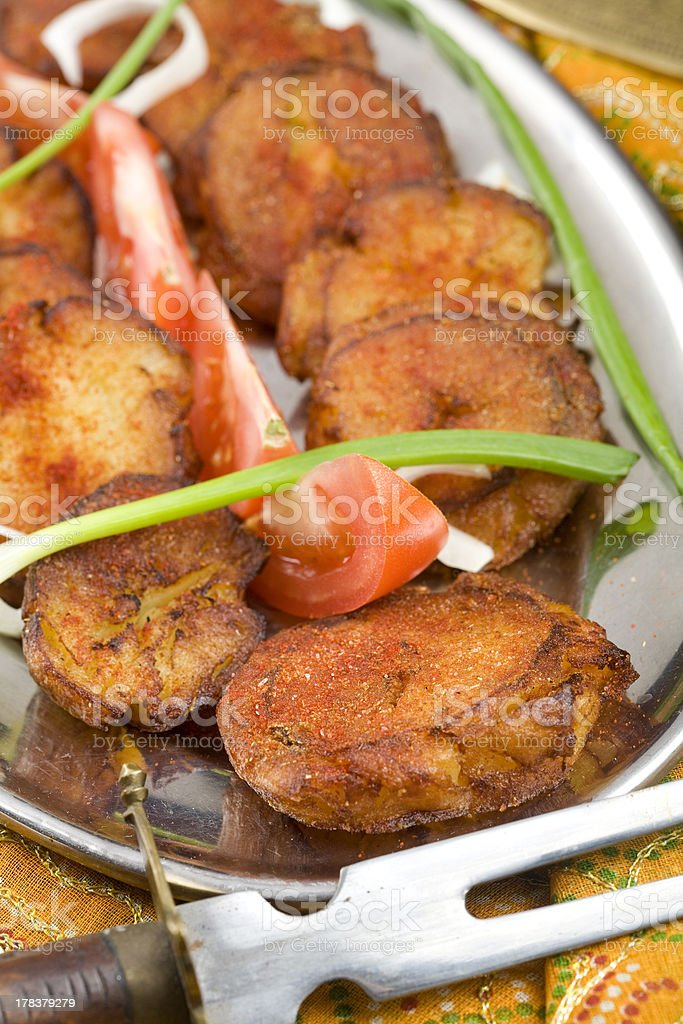 Red Hot Shredded Potatos, Indian food. royalty-free stock photo