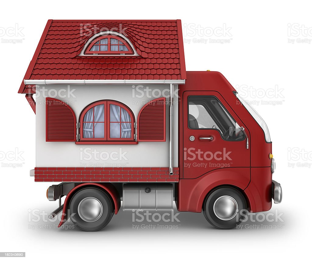 red house delivery van royalty-free stock photo