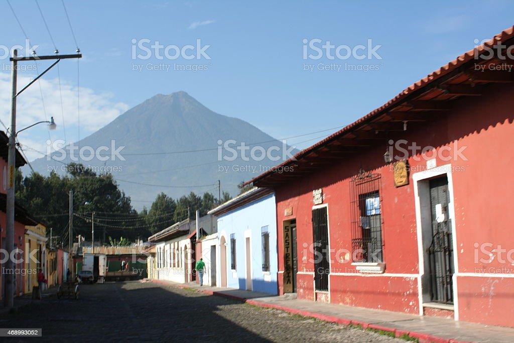 Красный дом в Антигуа Гватемала Стоковые фото Стоковая фотография