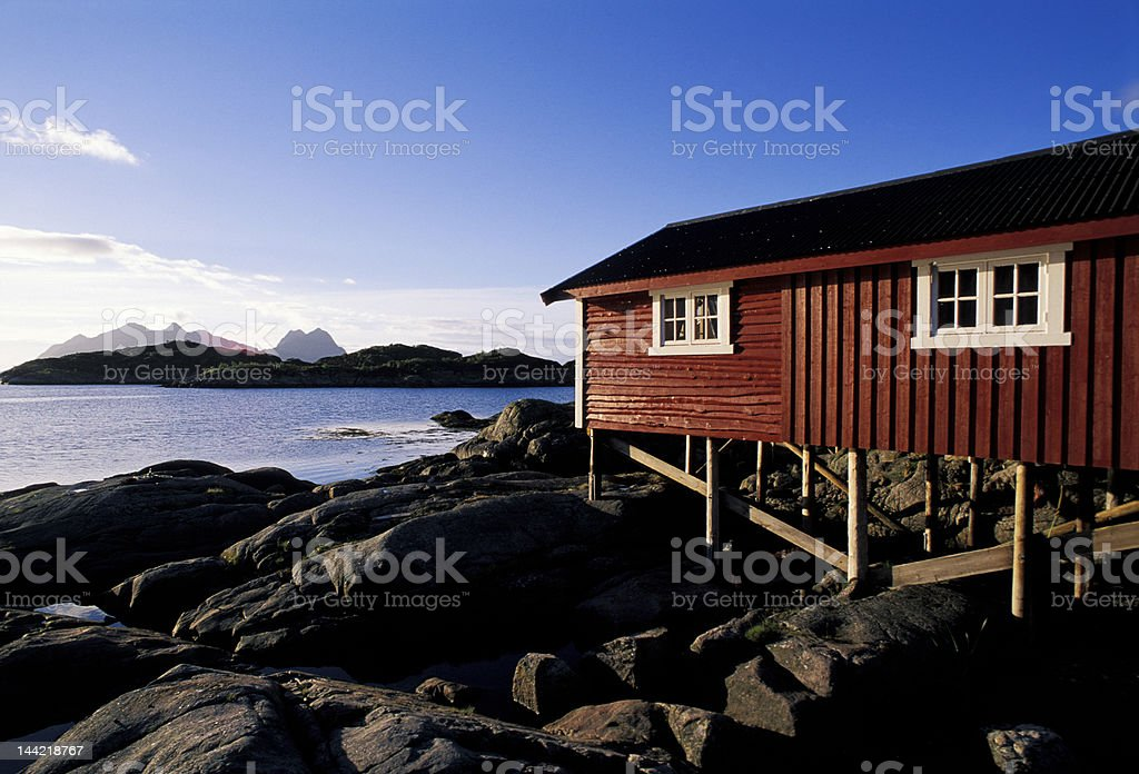 red house in Lofoten Island royalty-free stock photo