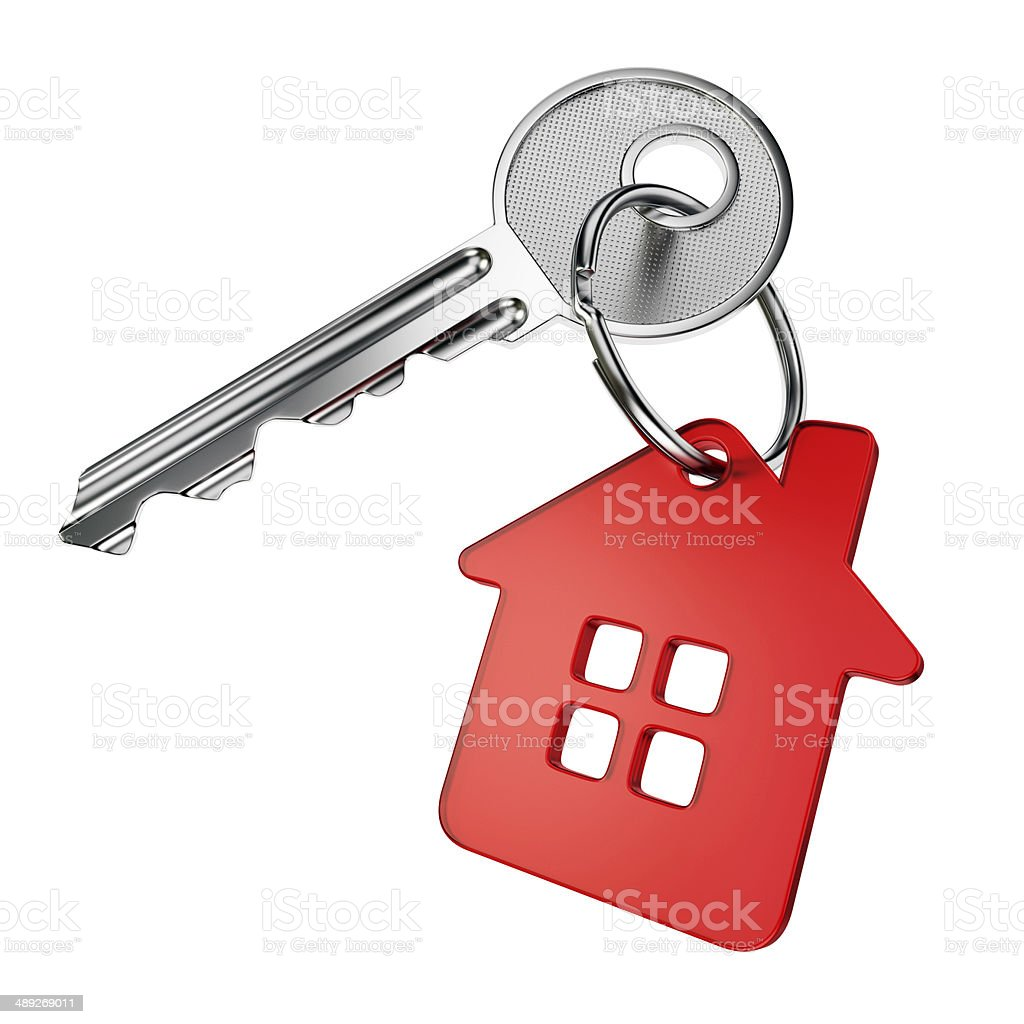 Red house key stock photo