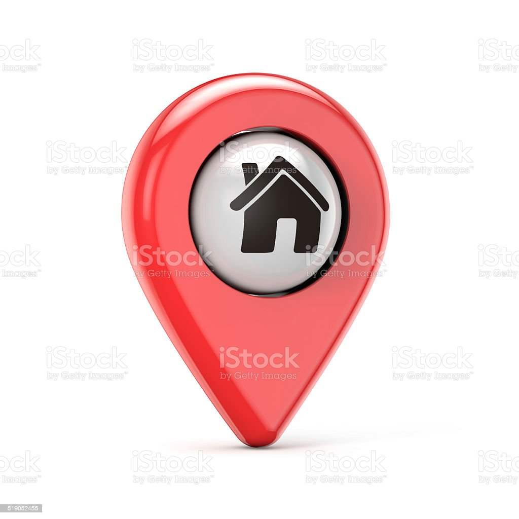 red house pin stock photo