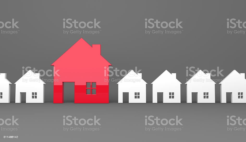Red house symbol stands out stock photo