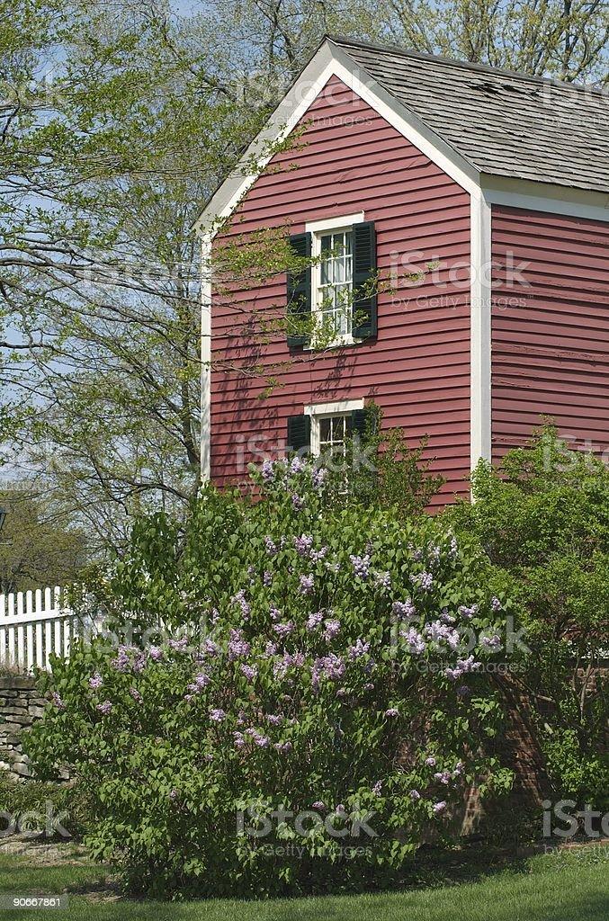 Red House with Lilac stock photo
