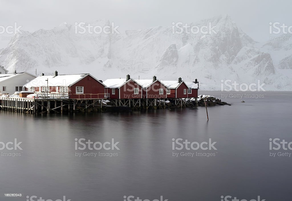 Red Houses in Lofoten Islands Norway royalty-free stock photo