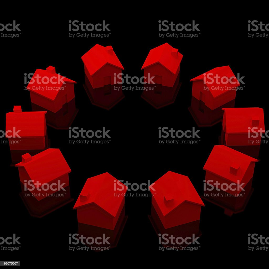 red houses on black background royalty-free stock photo