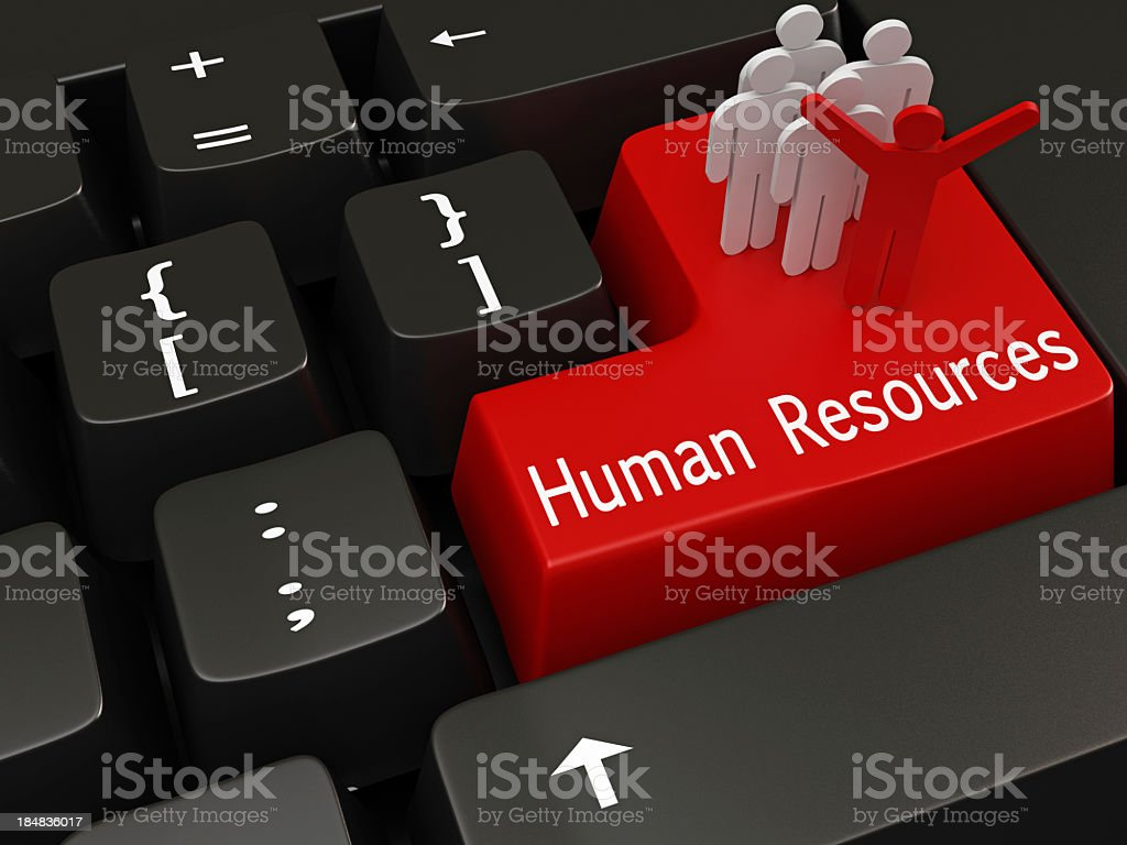 Red human resources key on mechanical keyboard stock photo