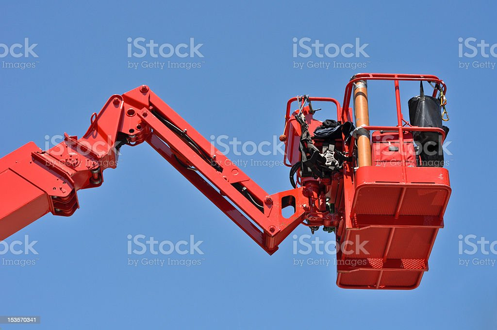 red hydraulic construction cradle stock photo