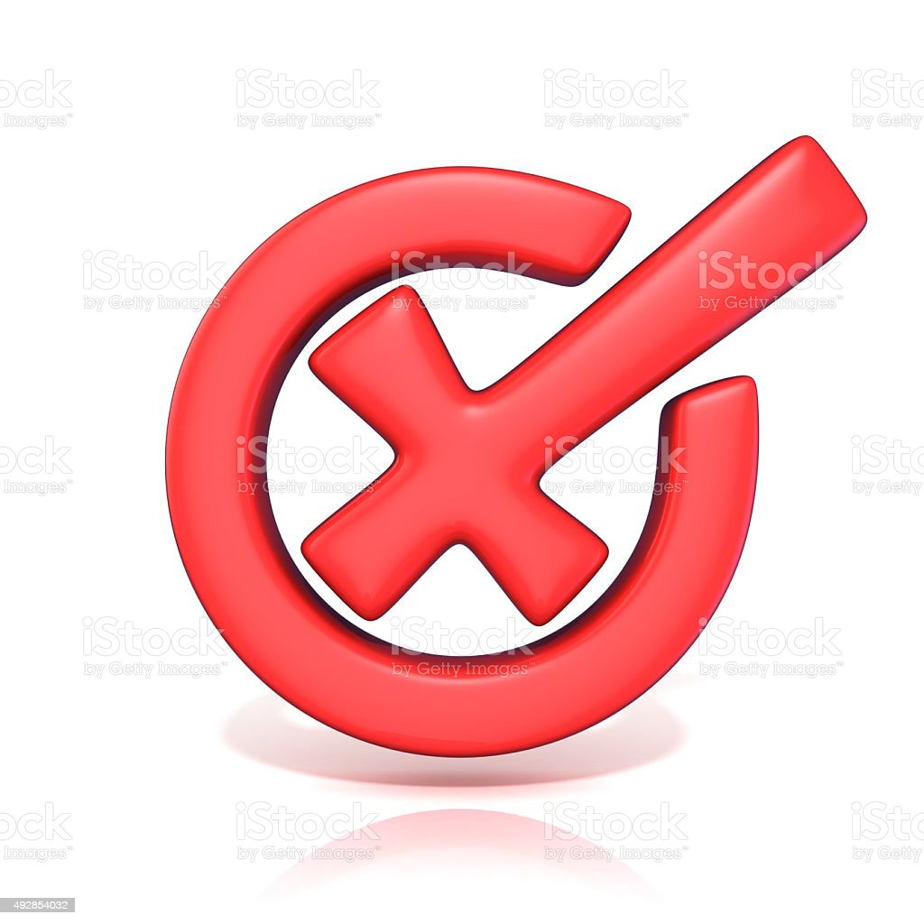 Red incorrect check mark in circle. 3D render stock photo