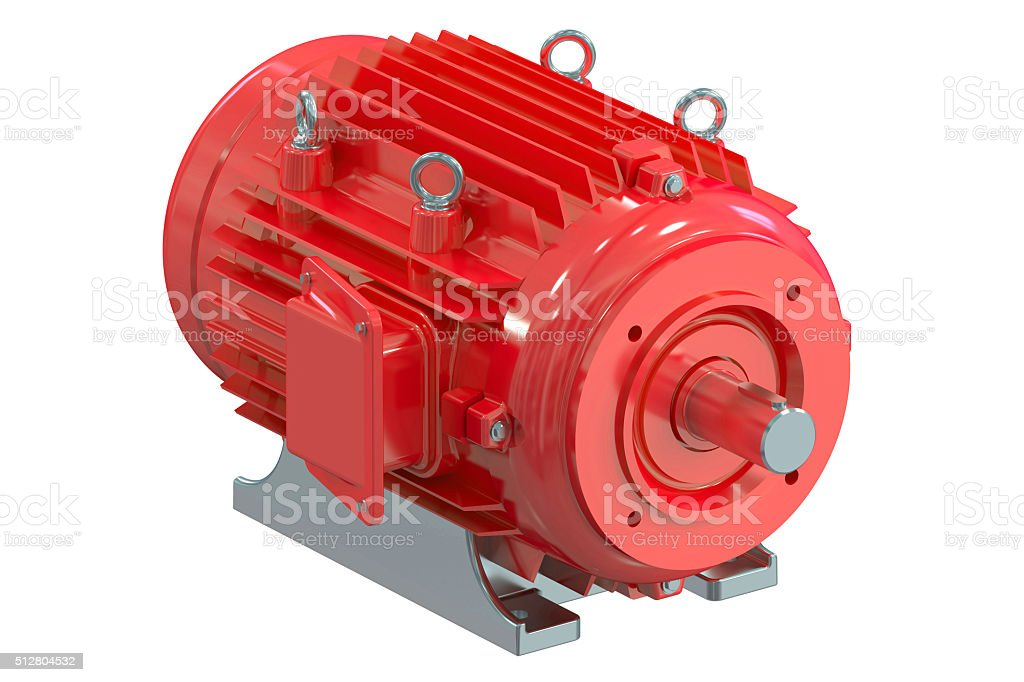 Red industrial electric motor stock photo