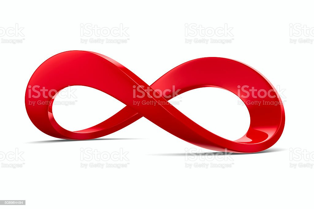 Red infinity sign on white background. Isolated 3D image stock photo