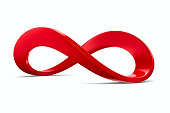 Red infinity sign on white background. Isolated 3D image