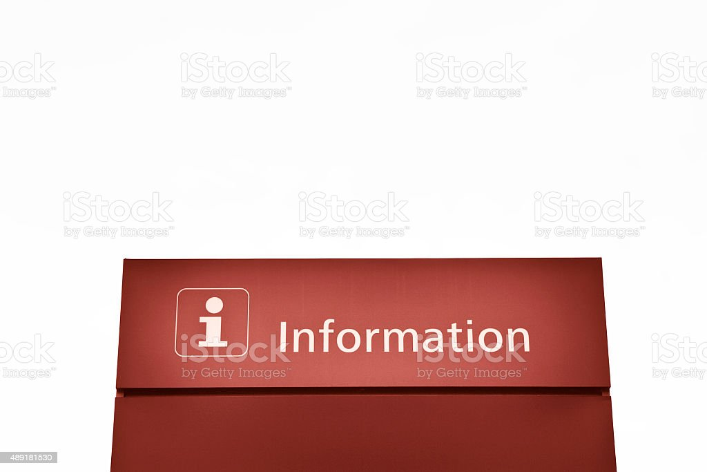 Red information sign on white background stock photo