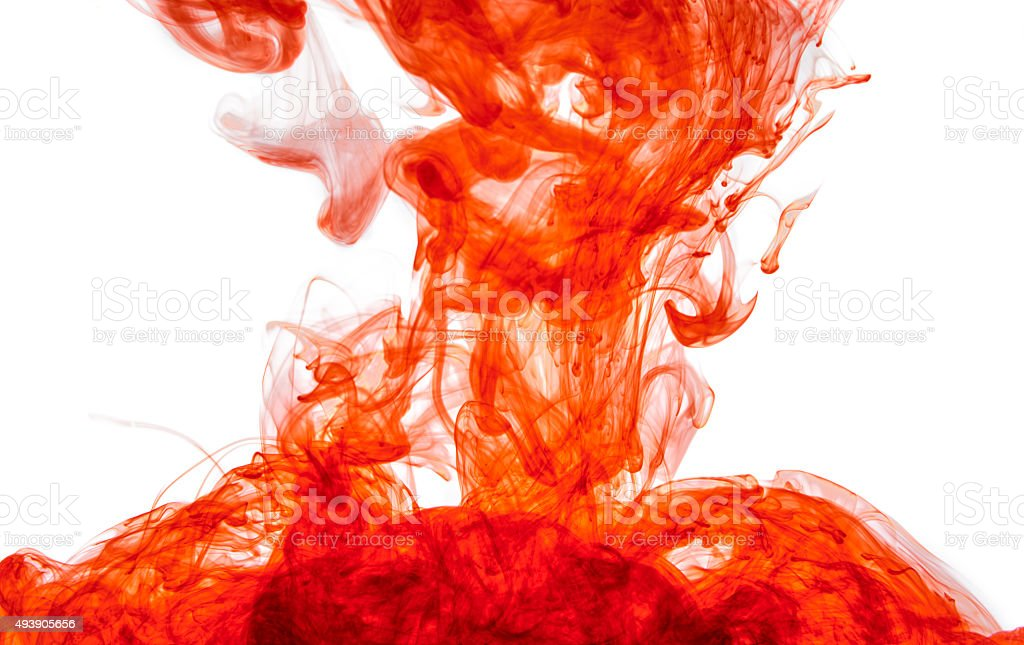 Red ink in water stock photo
